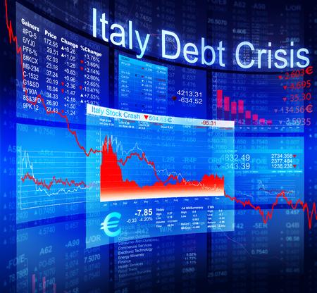banking crisis: Italy Debt Crisis Economic Stock Market Banking Concept Stock Photo