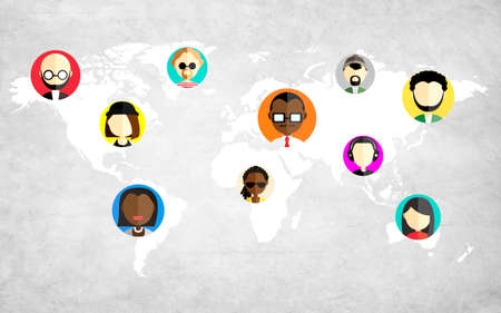 multi national: Global Community World People Social Networking Connection Concept