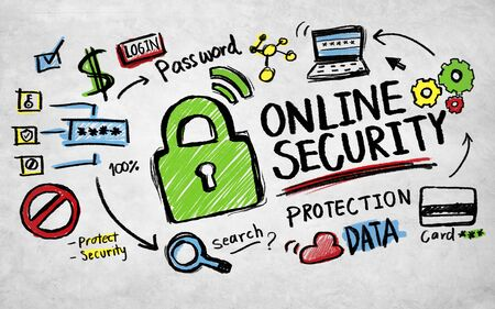 security guard: Online Security Protection Internet Safety Guard Lock Concept Stock Photo