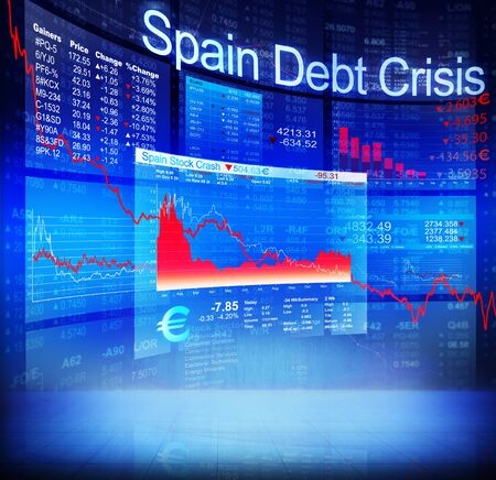banking crisis: Spain Debt Crisis Economic Stock Market Banking Concept