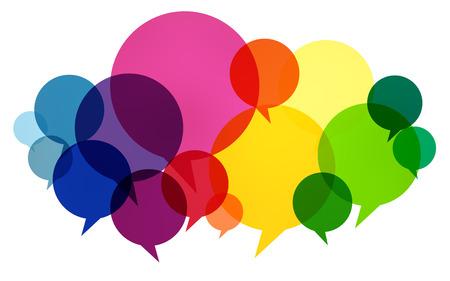dialogo: Burbujas del discurso colorido Pensamientos Comunicaci�n Hablar Concepto Foto de archivo