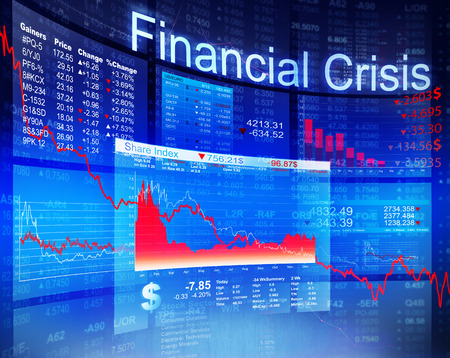 downturn: Financial Crisis Economic Stock Market Banking Concept Stock Photo
