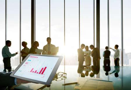 people development: Business People Silhouette Working Statistics Development Performance Success Stock Photo