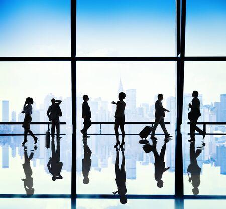 urban scene: Silhouette Group of Business People Urban Scene Concept Stock Photo