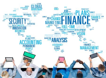 corporate finance: Finanace Security Global Analysis Management Accounting Concept