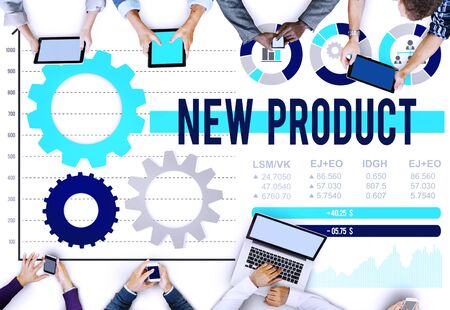 stock market launch: New Product Branding Advertising Commerce Target Concept Stock Photo