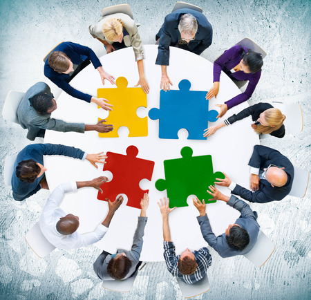 communication: Business People Jigsaw Puzzle Collaboration Team Concept