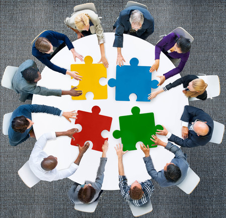 diversity: Business People Jigsaw Puzzle Collaboration Team Concept