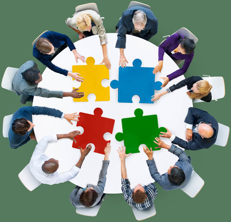 asian business group: Business People Jigsaw Puzzle Collaboration Team Concept