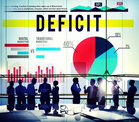 deficit: Deficit Problem Crisis Finance Marketing Concept