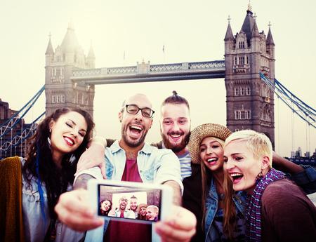 group picture: Diverse Summer Friends Fun Bonding Selfie Concept