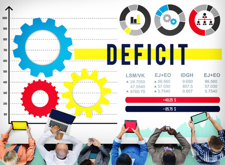 deficit: Deficit Financial Money Budget Economic Concept Stock Photo