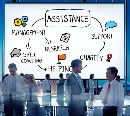 team worker: Assistance Support Partnership Helping Team Concept