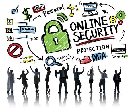 internet safety: Online Security Protection Internet Safety Business Success Concept Stock Photo