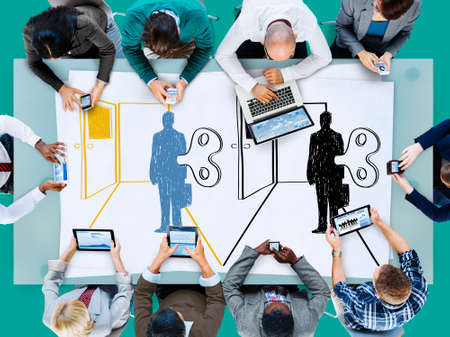 workforce: Controlled Workforce Choice Forced Decision Concept Stock Photo