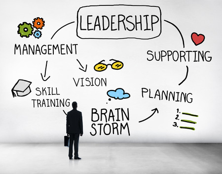 vision concept: Leader Leadership supporting Management Vision Concept Stock Photo