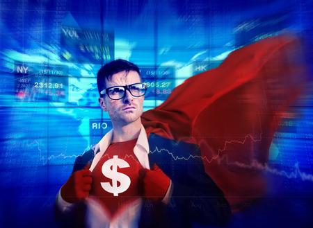 empowerment: Dollar Sign Strong Superhero Success Professional Empowerment Stock Concept Stock Photo