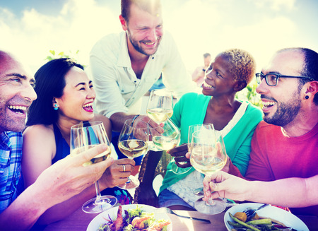 asian adult: Diverse People Friends Hanging Out Drinking Concept