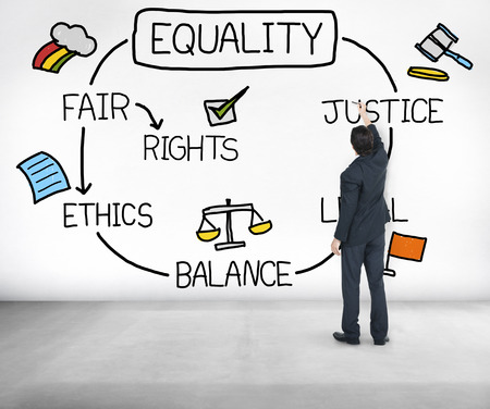 law suit: Equality Rights Balance Fair Justice Ethics Concept Stock Photo