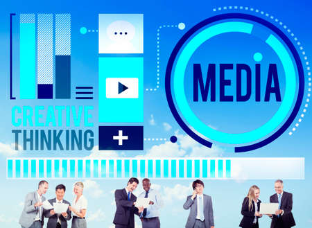 creative thinking: Media Communication Connect Creative Thinking Concept Stock Photo