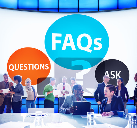 frequently asked questions: FAQs Frequently Asked Questions Solution Concept Stock Photo