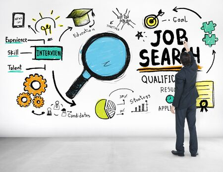 qualification: Businessman writing Job Search Application Qualification Concept