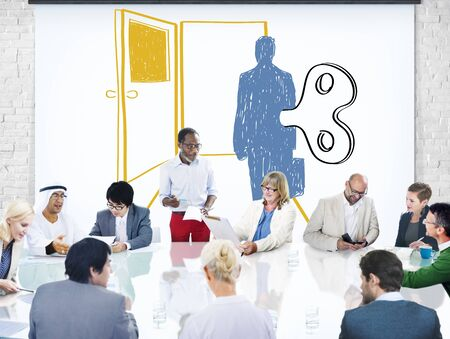 oppress: Controlled Workforce Choice Forced Decision Concept Stock Photo