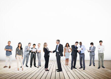 personas saludandose: Business People Handshake Greeting Agreement Corporate Concept