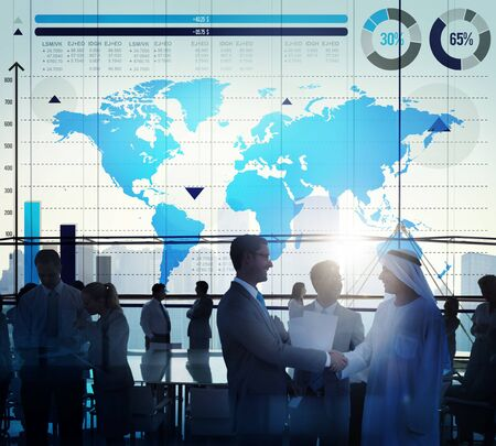 global partnership: Global Business Graph Growth World Map Concept
