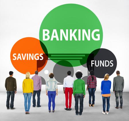 facing backwards: Banking Savings Funds Planning Finance Money Concept