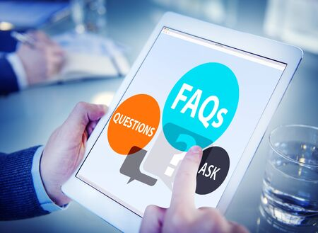 FAQs Frequently Asked Questions Solution Concept 版權商用圖片