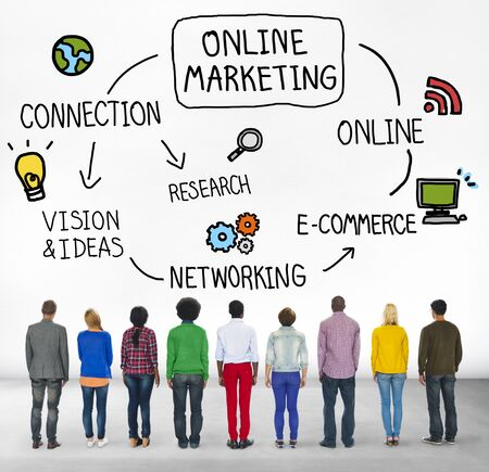 facing backwards: Online Marketing E-commerce Commercial Strategy Concept Stock Photo