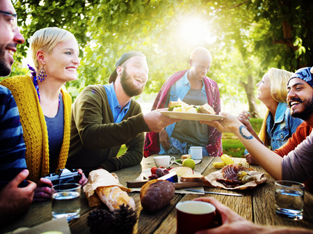 diversity: Diverse People Luncheon Outdoors Food Concept