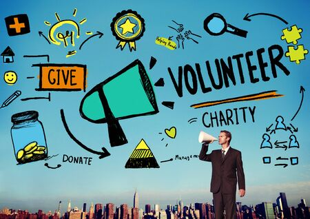 charity relief work: Volunteer Charity Help Sharing Giving Donate Assisting Concept