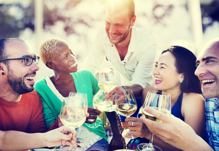 dining out: Diverse People Friends Hanging Out Drinking Concept