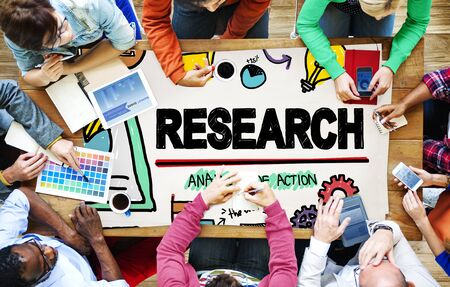 team communication: Research Exploration Facts Feedback Report Concept Stock Photo