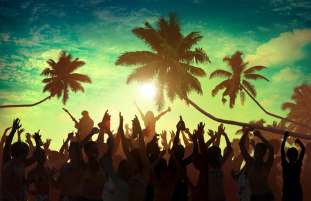 Beach Summer Music Concert Outdoors Recreational Pursuit Concept Stock Photo