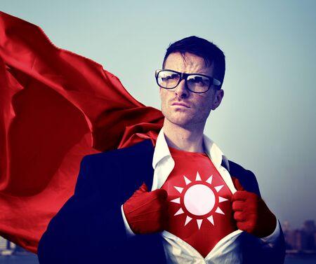 courage: Strong Superhero Businessman Sun Concepts Stock Photo