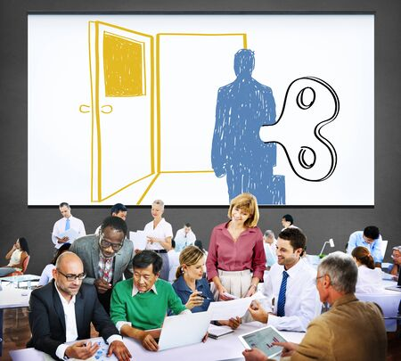 controlled: Controlled Workforce Choice Forced Decision Concept Stock Photo