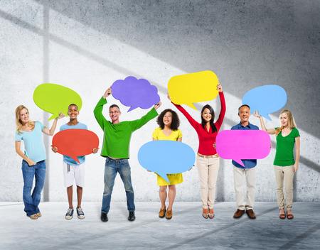 comunicación: Diversidad Etnia Comunidad Global de Comunicación Concepto Foto de archivo