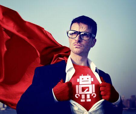 Robot Sterke Superhero Success Professional Empowerment Stock Concept Stockfoto
