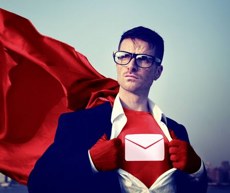 envelope: Envelop Star Strong Superhero Success Professional Empowerment Stock Concept Stock Photo