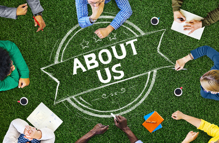 about us: About Us Information Contact Support Data Concept Stock Photo