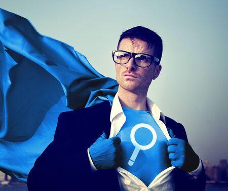 Vergrootglas Sterke Superhero Success Professional Empowerment Stock Concept