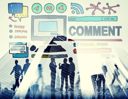 account executive: Comment Post Share Social Media Concept Stock Photo