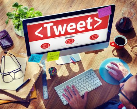 tweet: Digital Online Social Media Networking Tweet Sharing Concept Stock Photo