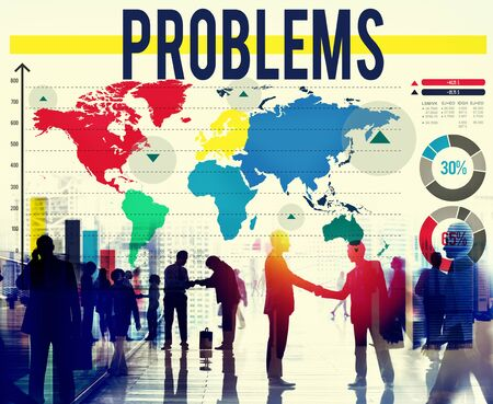 drawback: Problems Challenge Solution Solving Trouble Concept Stock Photo