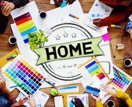 home: Home Residential Family Living House Concept Stock Photo