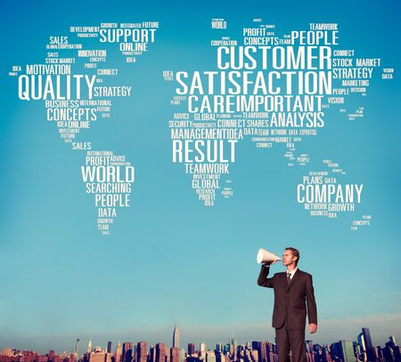 business suit: Customer Satisfaction Reliability Quality Service Concept Stock Photo