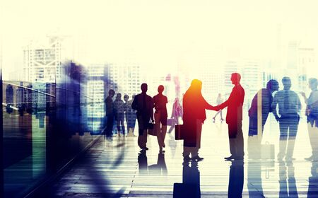 business people walking: Business People Talking Connection Conversation Concept